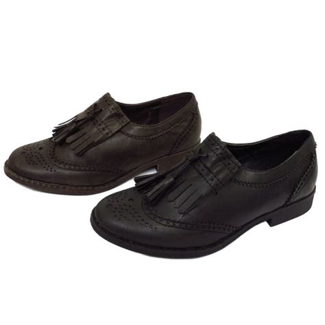 womens oxford shoes brown womens black or brown flat tassle oxford brogue retro