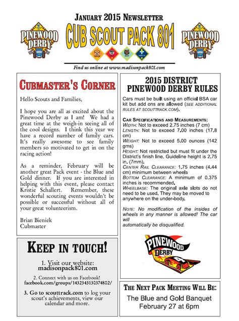 Pack 801 Madison Wi Madison Pack 801 Cub Scouts Home Page Cub Scout Newsletter Template