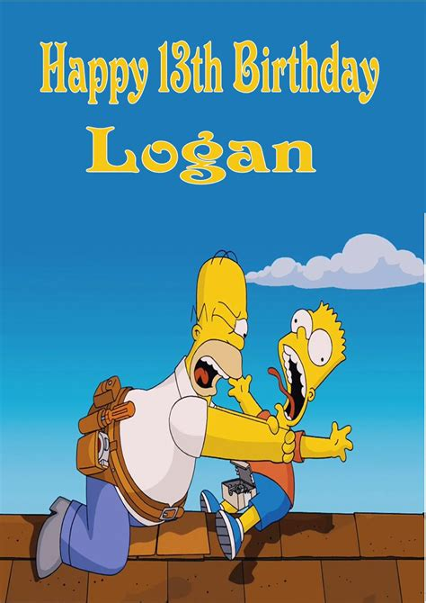 Simpsons Birthday Card Personalised The Simpsons Birthday Card