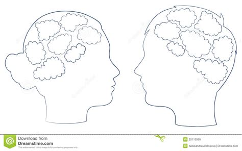 boy and girl head with thought template stock photo