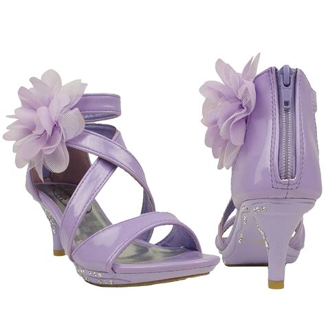 youth high heels dress sandals strappy rhinestones high heel flower