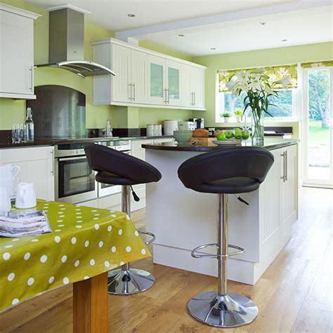 Lime green kitchen with white cabinetry decorating ideal home