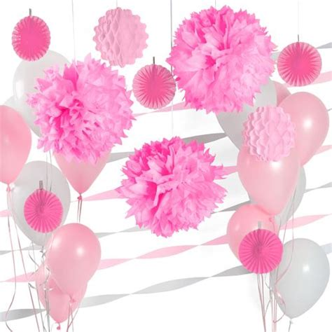 pink and white d cor kit for baby showers