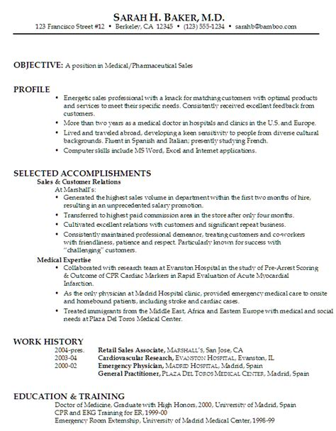 functional resume exle medical pharmaceutical sales