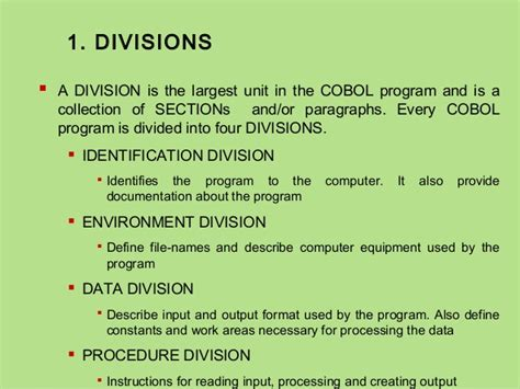 divisions and sections in cobol chapter 1