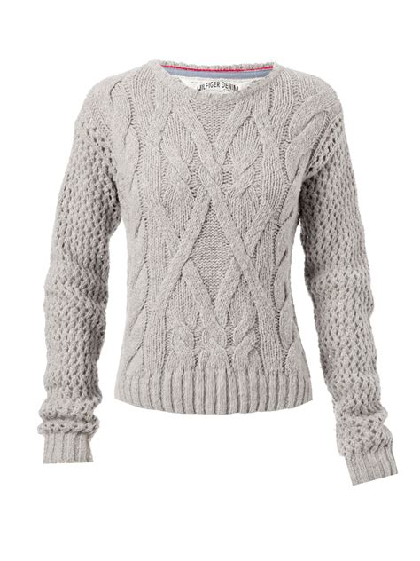 knit jumper hilfiger sleeve cable knit jumper with crew