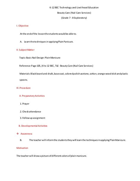 englis lesson plan on hair products leson plan in tle nailcare plain manicure