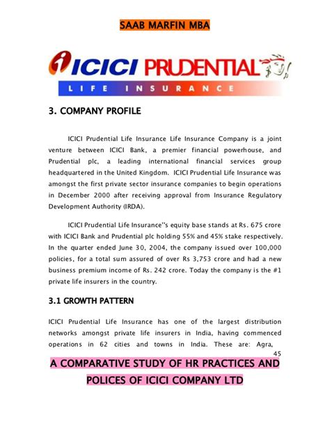 Prudential Financial Professional Associate Internship Mba by A Comparative Study Of Hr Polices Of Icici Company Ltd