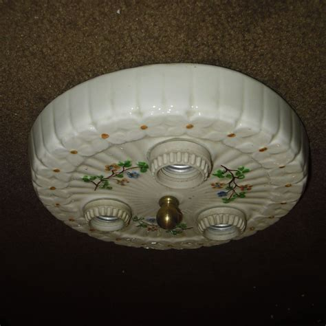 Porcelain Ceiling Light Fixture Decorated Porcelain Flush Mount Ceiling Light Fixture From Sherlocksantiquelights On Ruby