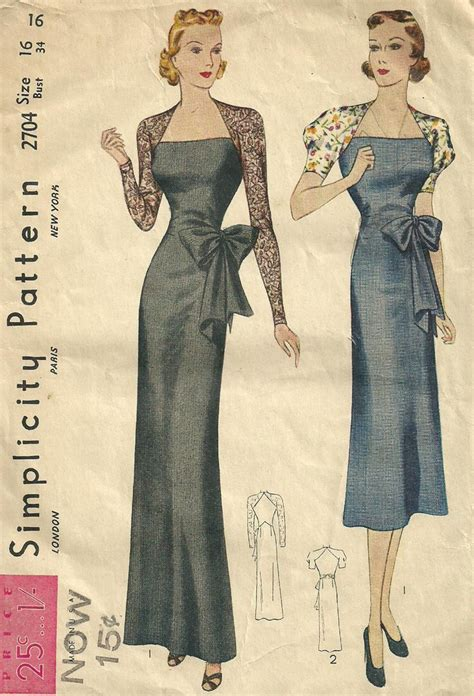 vintage gown pattern simplicity 2704 vintage 1930s sewing pattern evening dress