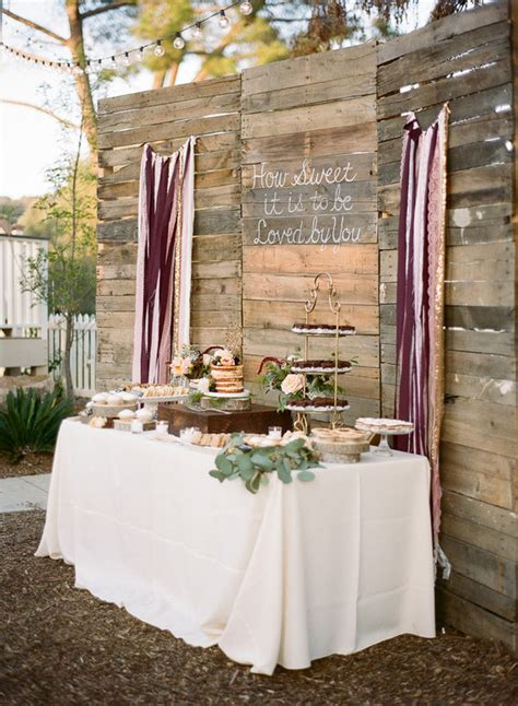 rustic dessert table backdrop wedding party ideas