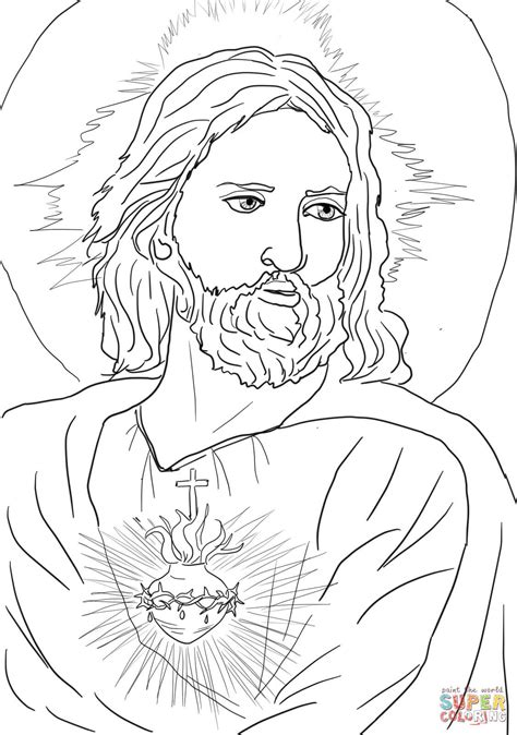 Coloring Page Of Jesus by Sacred Of Jesus Coloring Page Free Printable