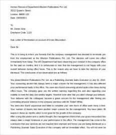Termination Letter Format Due To Misconduct 12 Employment Termination Letter Templates Free Sample