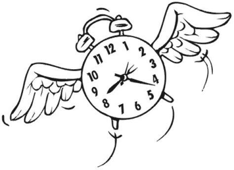imagenes para colorear reloj el tiempo vuela dibujo de reloj volando para pintar y