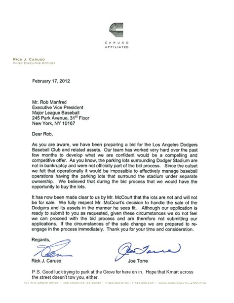 Withdrawal Of Interest Letter Sons Of Steve Garvey Caruso Torre Bid Withdrawal Gets In One Zinger