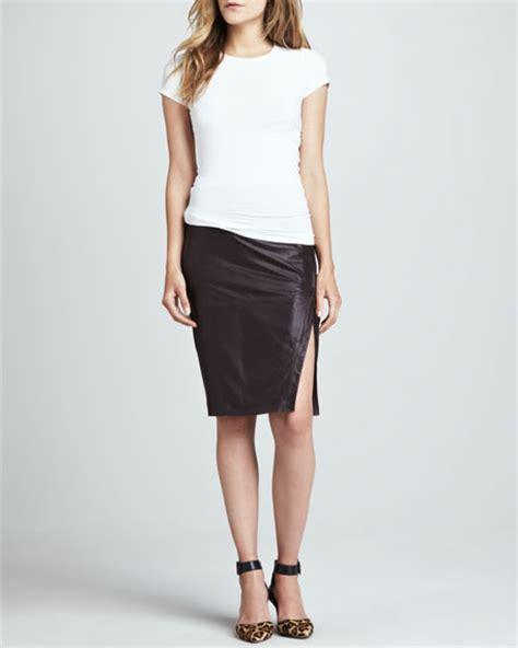 lamarque leather pencil skirt plum