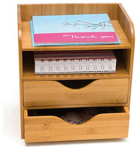 Contemporary Desk Organizers Bamboo 4 Tier Desk Organizer Contemporary Desk Accessories By Organize It