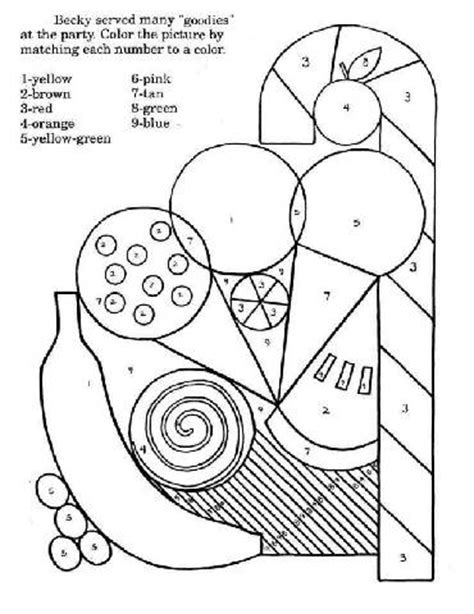 preschool food colouring pages