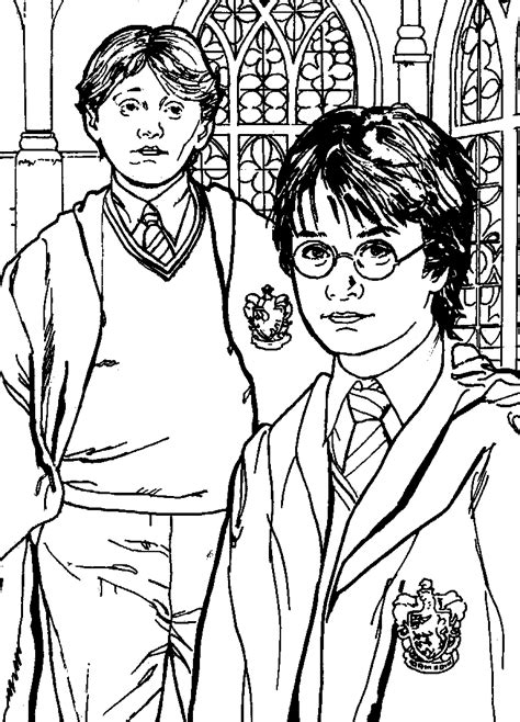 free coloring pages harry potter and ron weasley