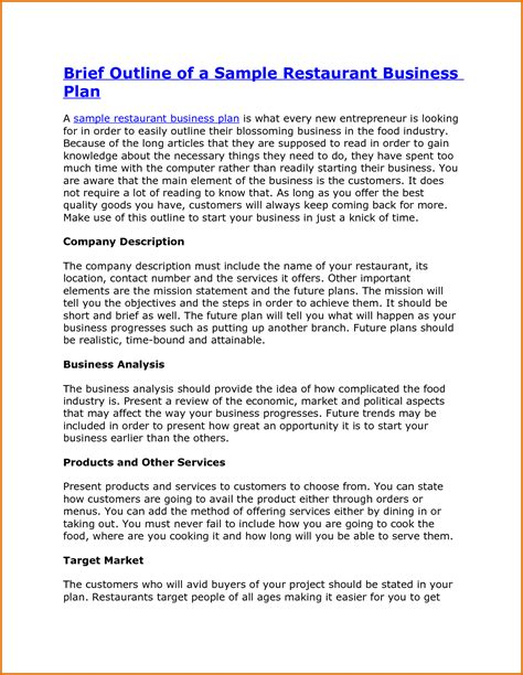 business plan template restaurant sle restaurant business planreference letters words