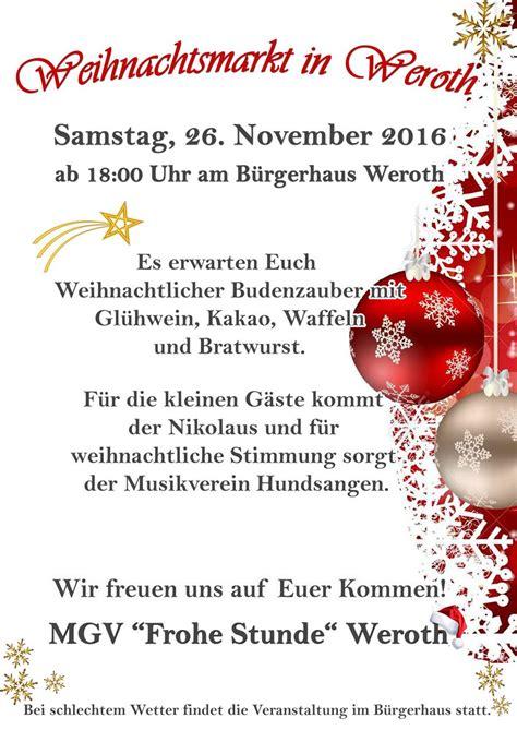 Muster Einladung Weihnachtsmarkt Mgv Quot Frohe Stunde Quot Weroth Neuigkeiten