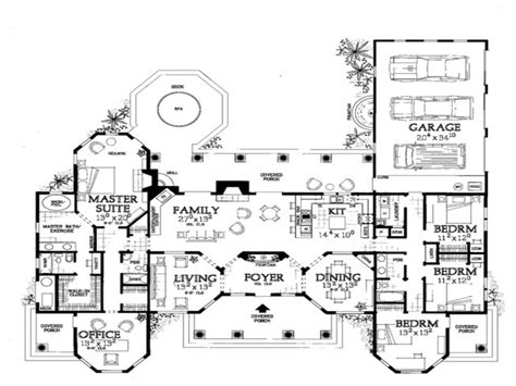 One Story Mediterranean House Floor Plans Mediterranean Single Level House Plans With Courtyard
