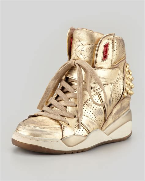 gold wedge sneaker tisdale leather sneakers vs helena christensen