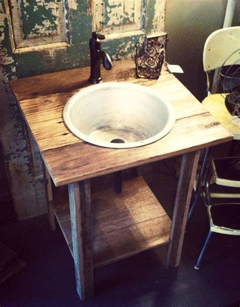 Rustic Pedestal Sink rustic reclaimed oak pedestal sink w vintage wash basin