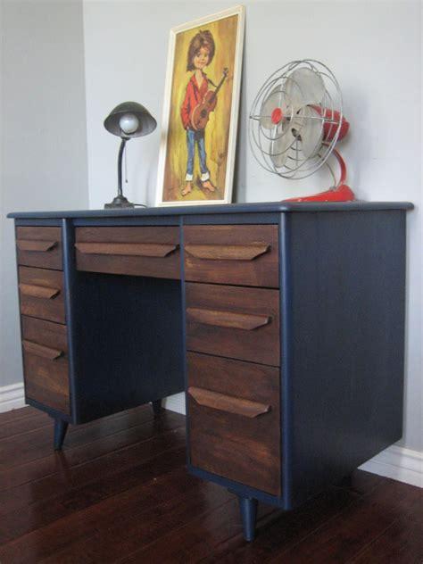 Blue Vintage Desk by European Paint Finishes Retro Blue Brown Desk