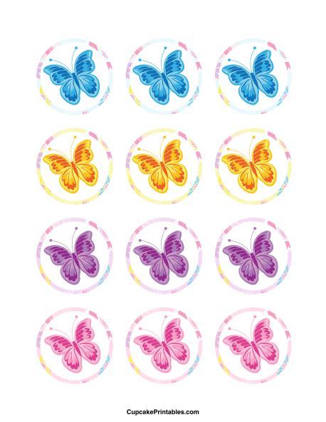 Cupcake Topper Butterfly printable butterfly cupcake toppers