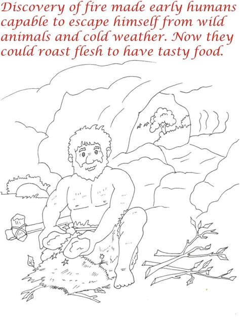 early humans coloring page early humans printable coloring page for kids 2