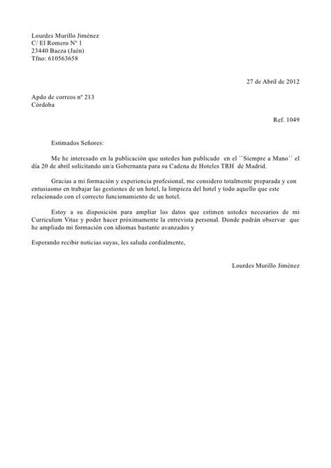 Modelo De Carta De Presentacion Para Un Curriculum Vitae Carta Presentacion