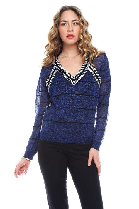 Stripe Sleeved Sweater 15217 townsen shimmer stripe sweater from by fawn