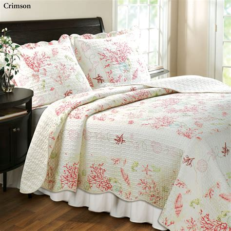 quilted comforters coral cotton quilt bedding set