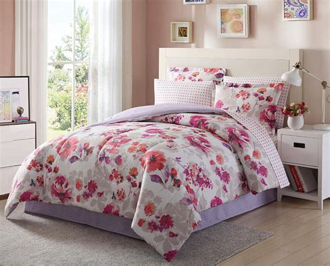 Pink Bedding by Light Purple Pink White Floral 8 Comforter