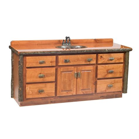 Wood Top Bathroom Vanity Shop Fireside Lodge Furniture Hickory Rustic Alder No Sink Hickory Bathroom Vanity With Wood