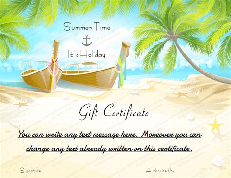 Vacation Card Template by Printable Gift Certificate Template