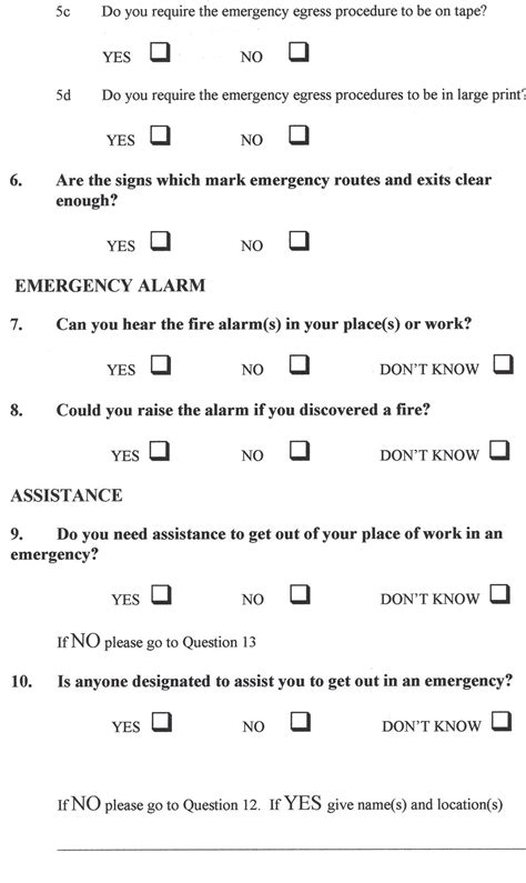 questionnaire sample word fire action guidance on safe evacuation current staff