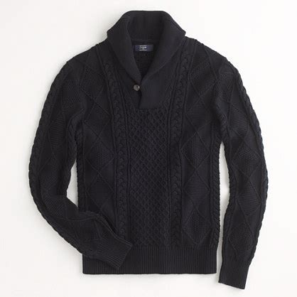 Sweater Pria Mens Abu factory multi cable shawl collar sweater sweaters j crew factory