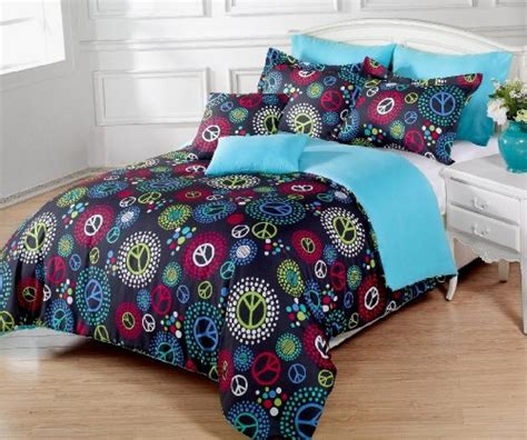 Peace Sign Comforter Sets by 5 Pieces Multi Colored Peace Sign Black Comforter Set