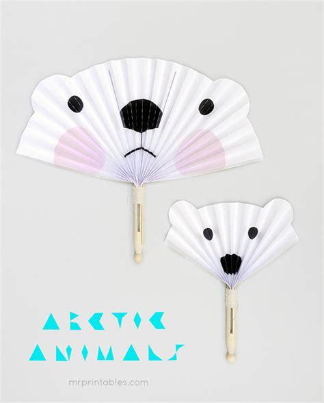 arctic animals diy paper fans mr printables
