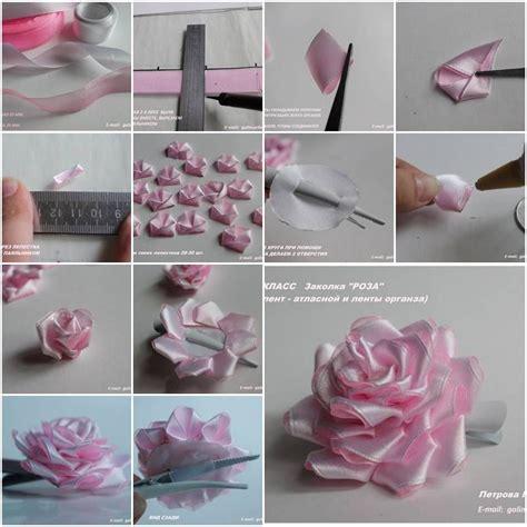 tutorial rose in organza how to make satin and organza ribbon rose step by step diy