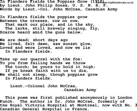 song ware world war one ww1 era song lyrics for in flanders fields