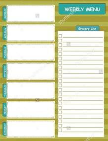weekly dinner menu planner template weekly menu template cyberuse
