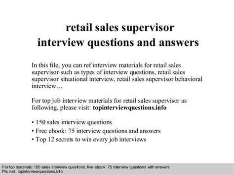Retail Supervisor by Retail Sales Supervisor Questions And Answers