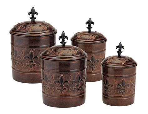4 metal canister set antique copper in kitchen