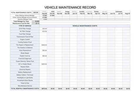car service record template printable vehicle maintenance log templates