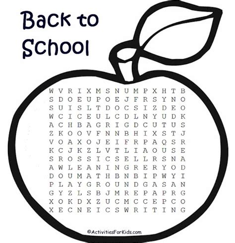 Search By School Back To School Word Search Activities For