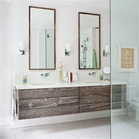 Floating Vanity Bathroom Reclaimed Wood Floating Vanity Contemporary Bathroom Worts Design