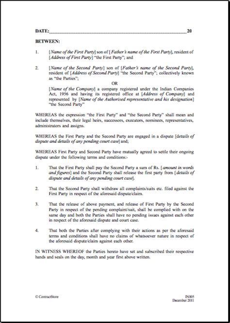 Settlement Agreement Letter Template Settlement And Release Sle Templates Sles And Templates